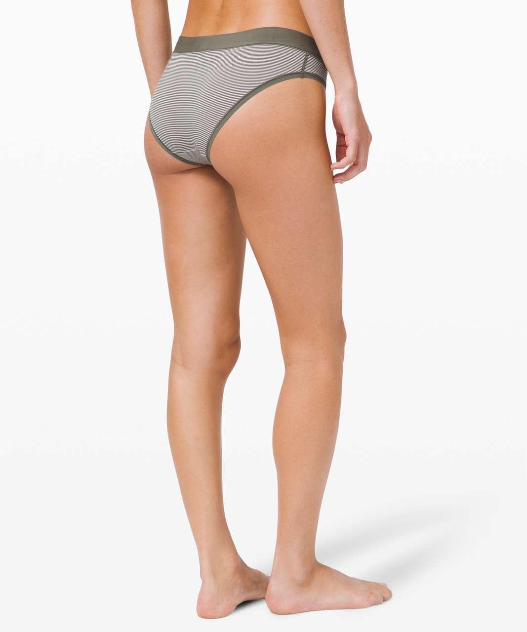 Lululemon Soft Breathable Bikini *Stripe - Grey Sage / Grey Sage