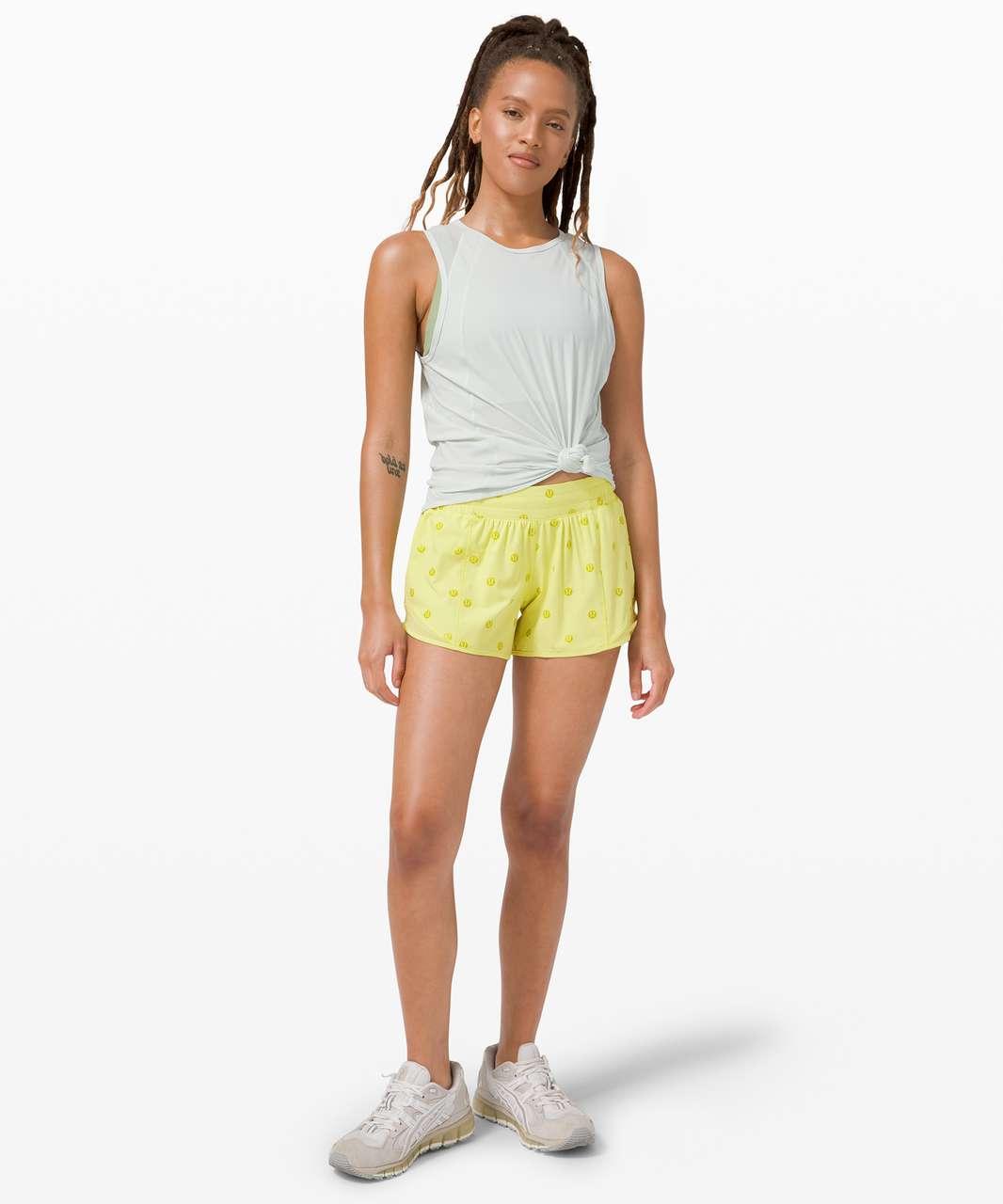 """Lululemon Hotty Hot Short II *Long 4"""" - Polka Dot Logo Lemon Vibe Matte Green Foil / Lemon Vibe"""