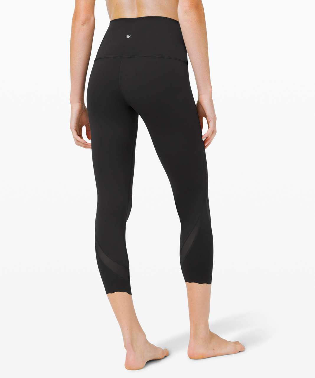"Lululemon Wunder Under Crop High-Rise *Roll Down Scallop Full-On Luxtreme 23"" - Black"