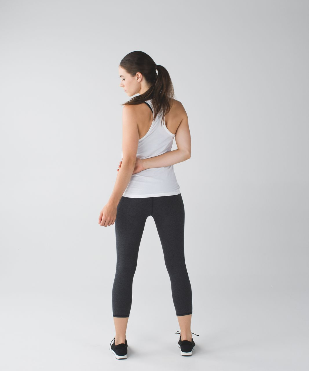 Lululemon Wunder Under Crop (Roll Down) - Heathered Black