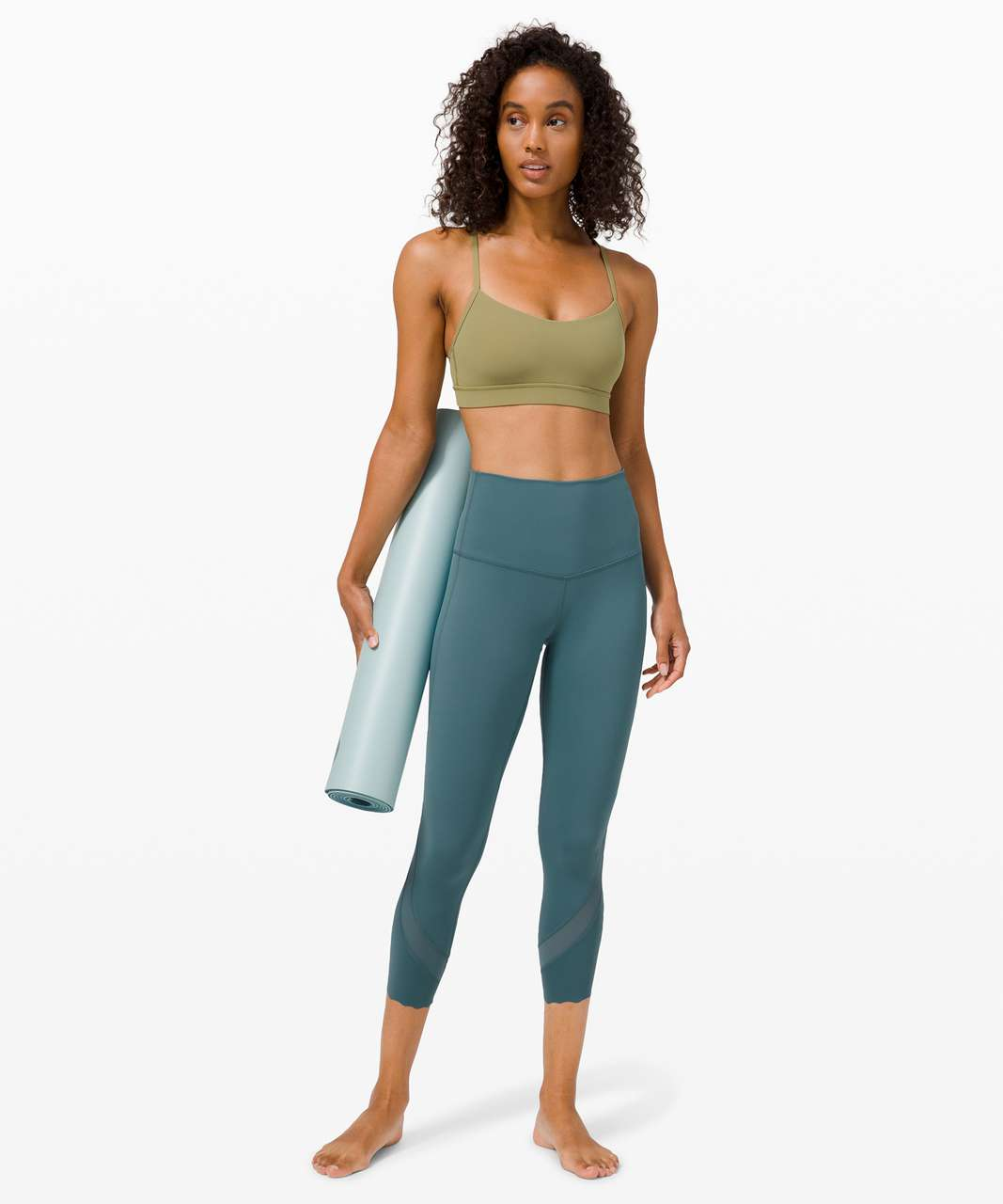 "Lululemon Wunder Under Crop High-Rise *Roll Down Scallop Full-On Luxtreme 23"" - Desert Teal"