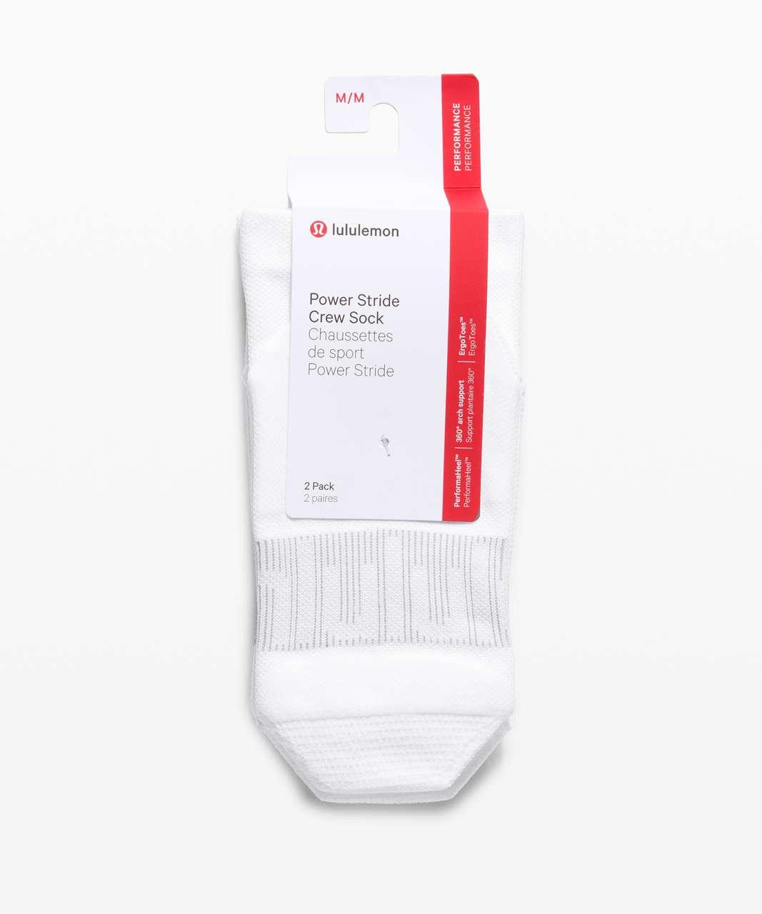 Lululemon Power Stride Crew Sock Wordmark *2 Pack - White