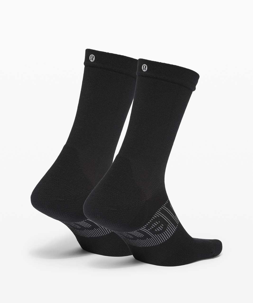 Lululemon Power Stride Crew Sock Wordmark *2 Pack - Black