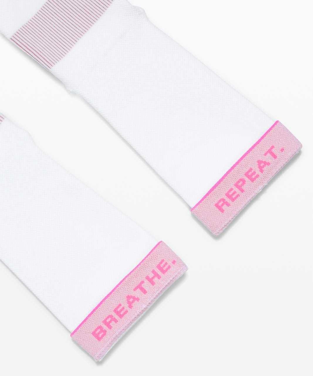 Lululemon Power Stride Crew Sock *Stripe - White / Pink Pastel