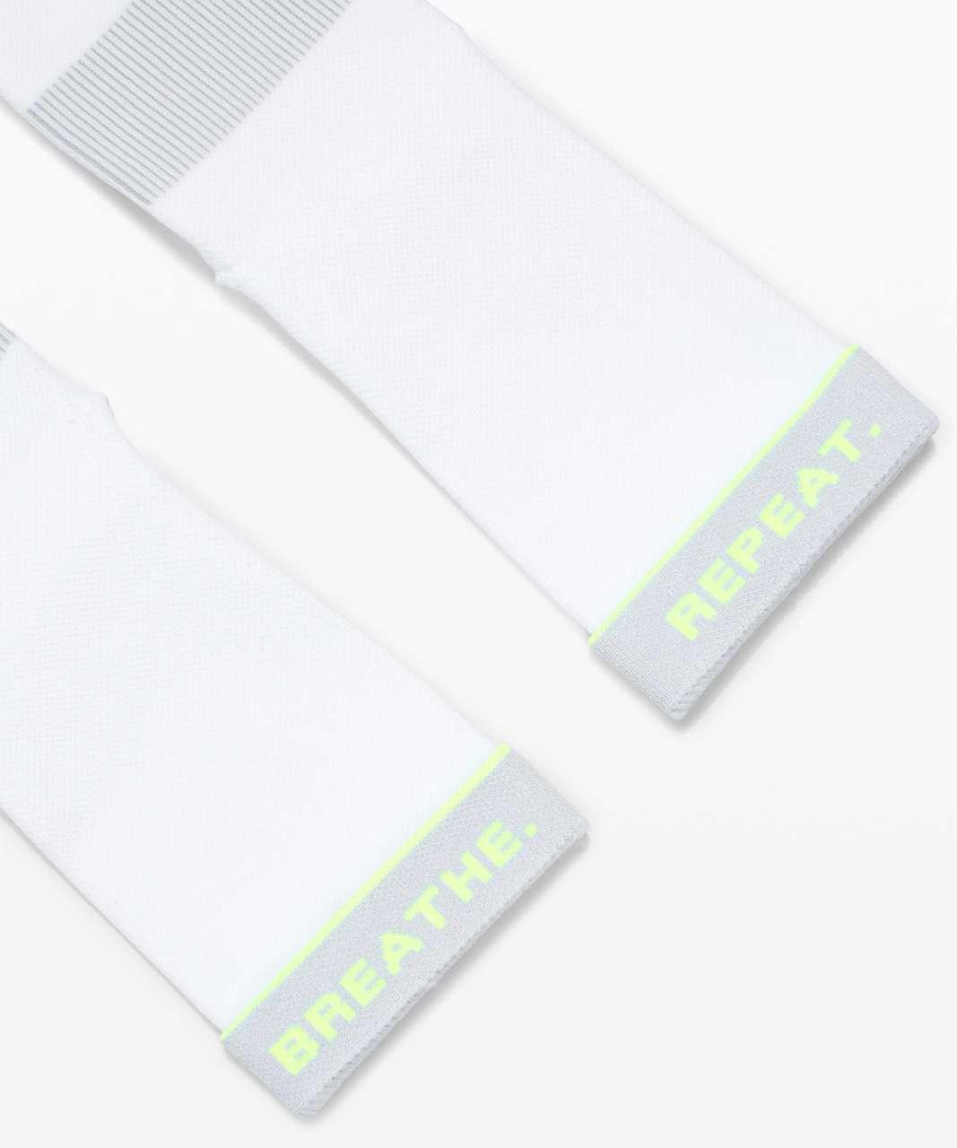 Lululemon Power Stride Crew Sock *Stripe - White / Highlight Yellow