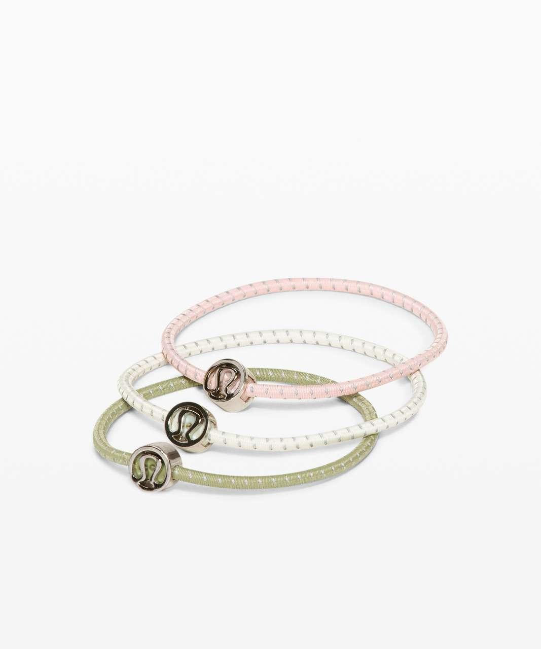 Lululemon Glow On Hair Ties - Antique White / Vista Green / Misty Pink