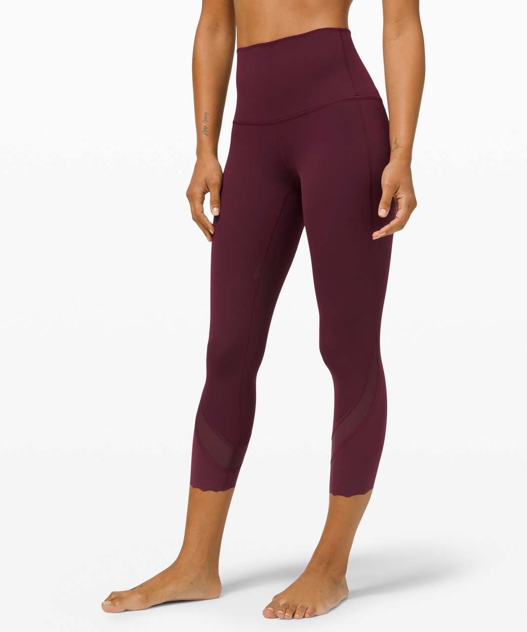 """Lululemon Wunder Under High-Rise Crop 23"""" *Updated Scallop Full-On Luxtreme - Cassis (First Release)"""