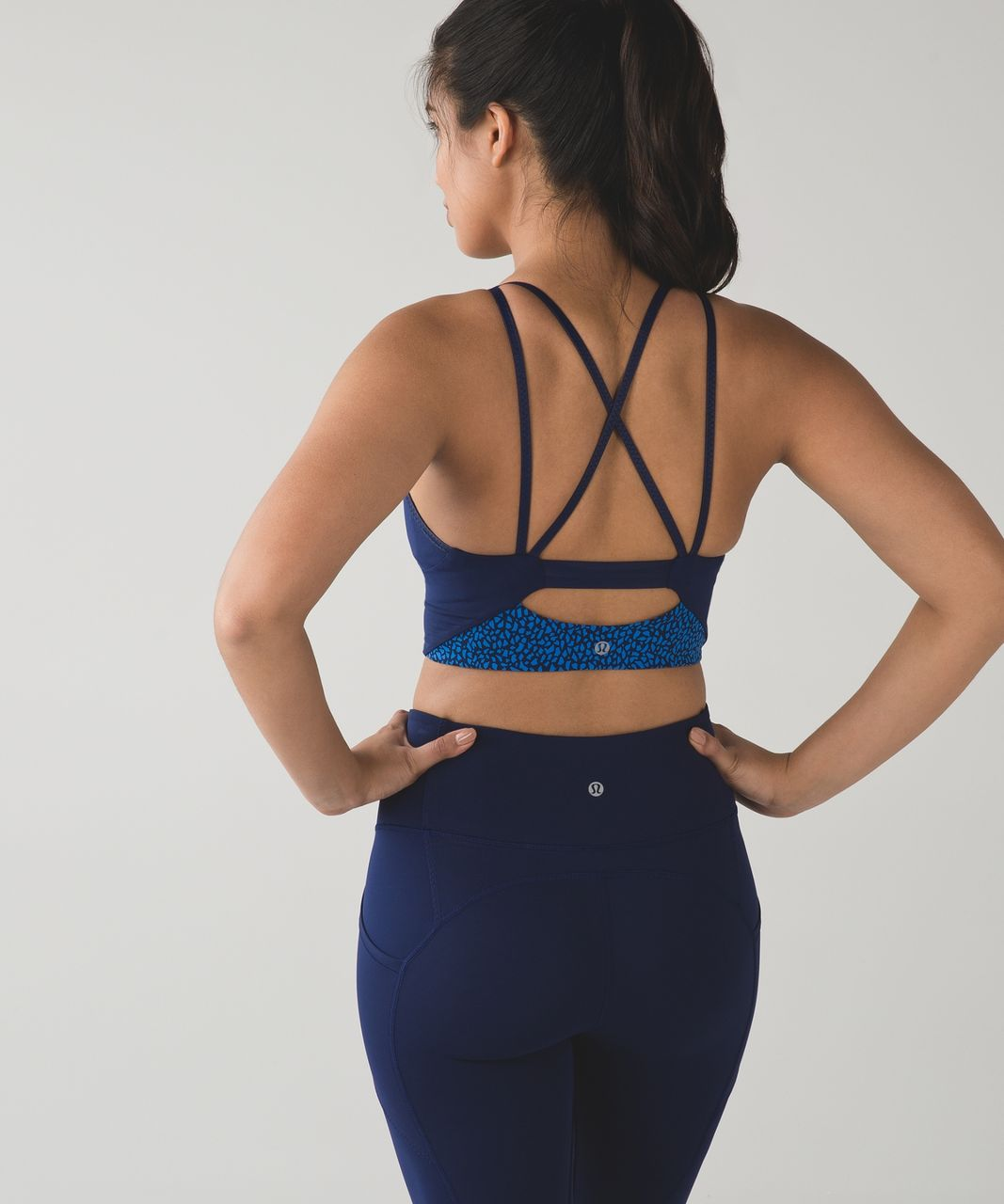 Lululemon Clip-In Long Line Bra - Miss Mosaic Lakeside Blue Hero Blue / Hero Blue