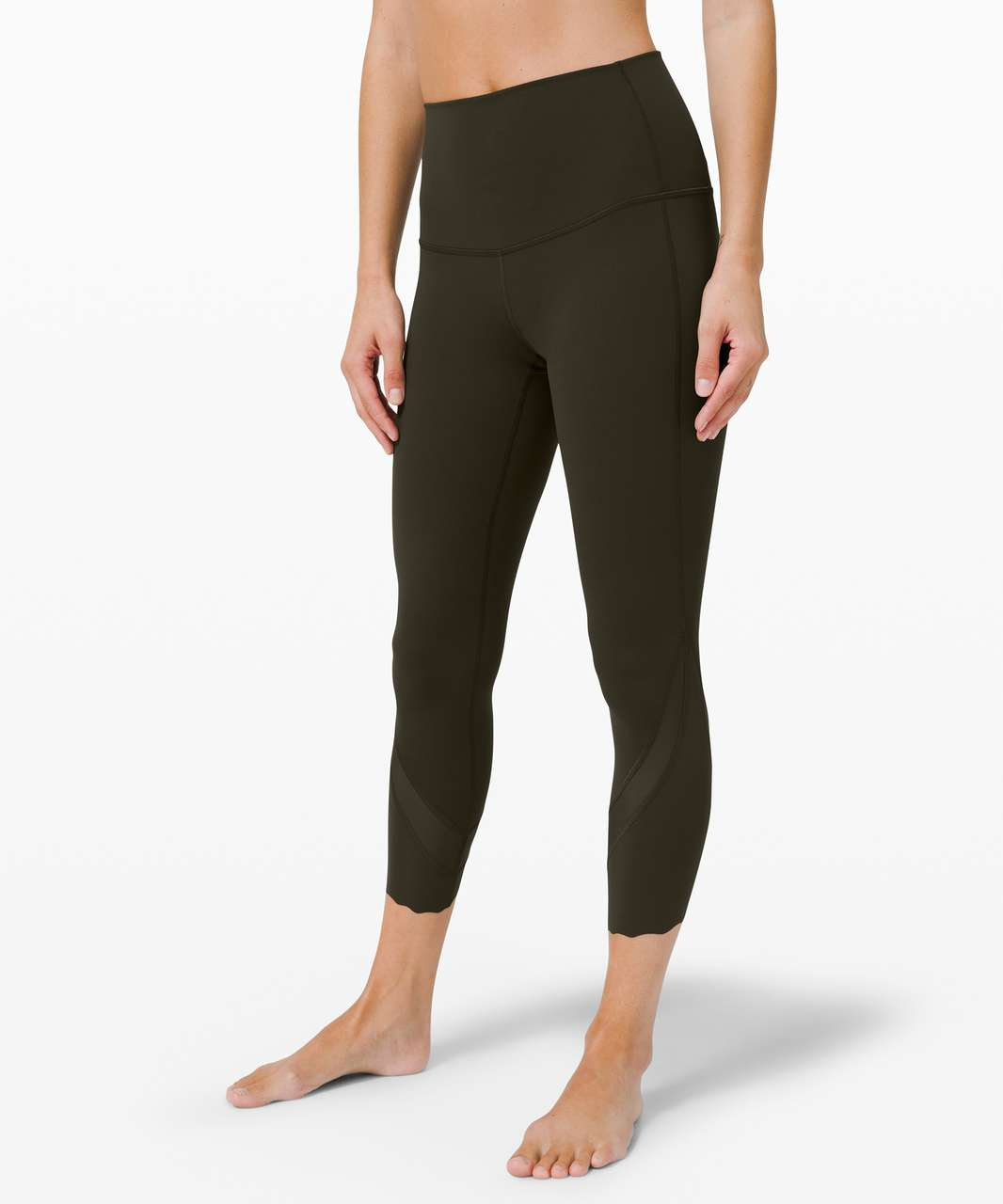 "Lululemon Wunder Under High-Rise Crop 23"" *Updated Scallop Full-On Luxtreme - Dark Olive"