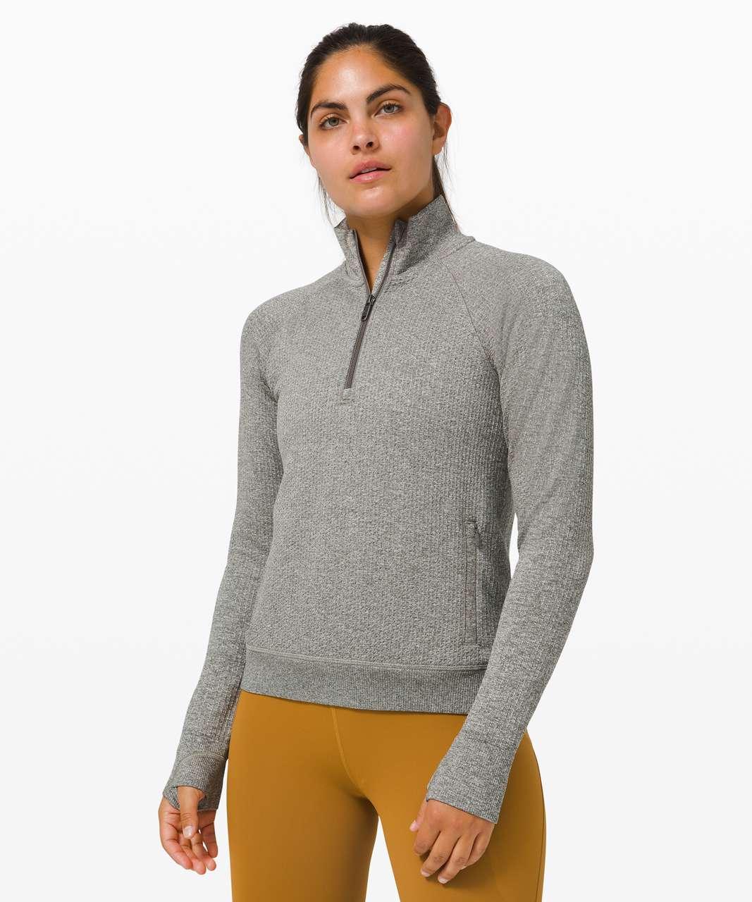 Lululemon Engineered Warmth Half Zip - Grey Sage / White