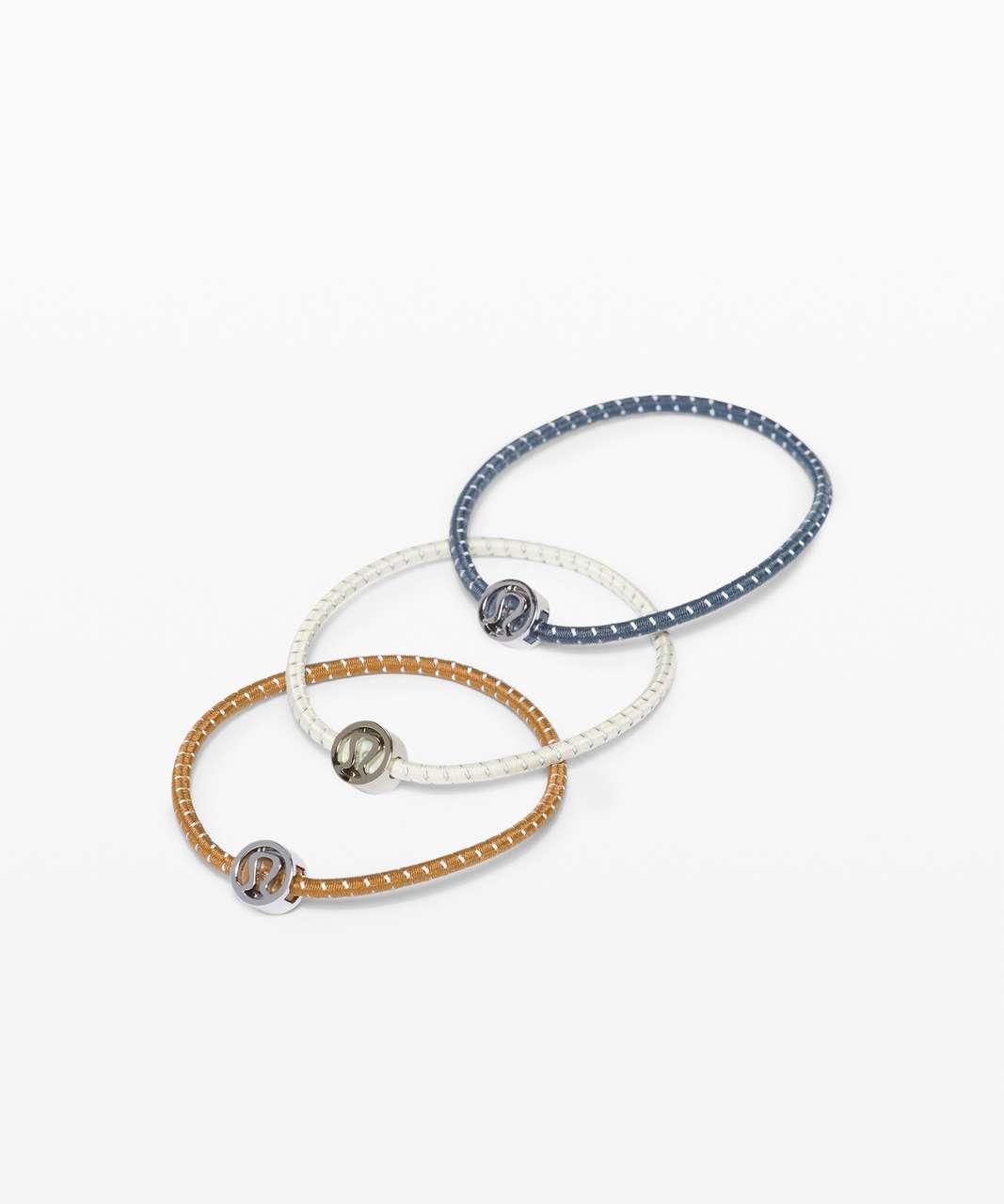 Lululemon Glow On Hair Ties - Iron Blue / Spiced Bronze / Antique White
