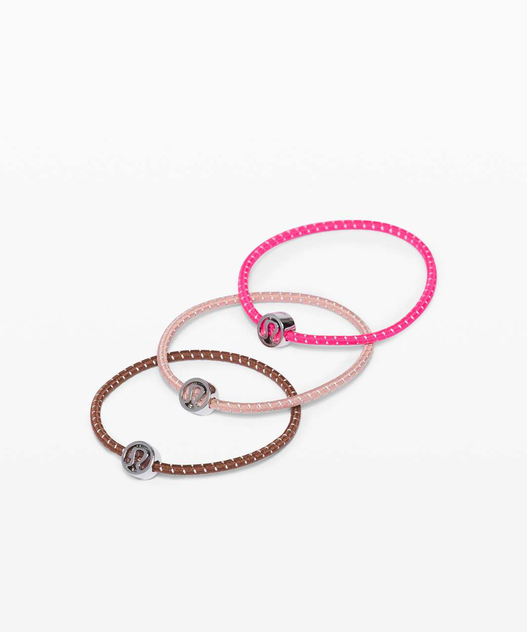 Lululemon Glow On Hair Ties - Ancient Copper / Pink Pastel / Highlight Pink