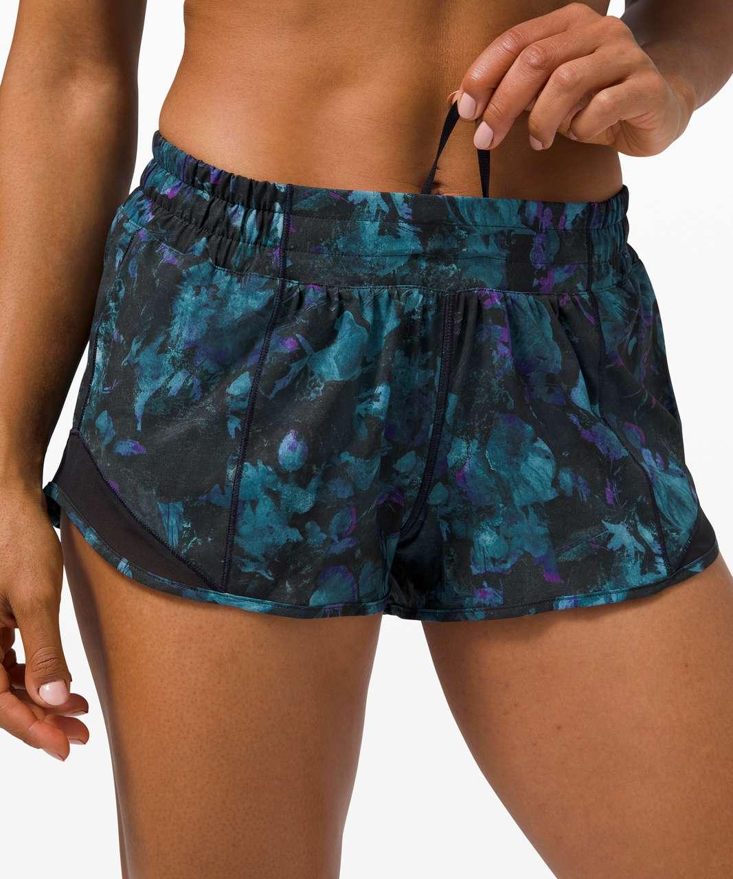 """Lululemon Hotty Hot Short II *2.5"""" - Floral Shift Blue Multi / Black"""