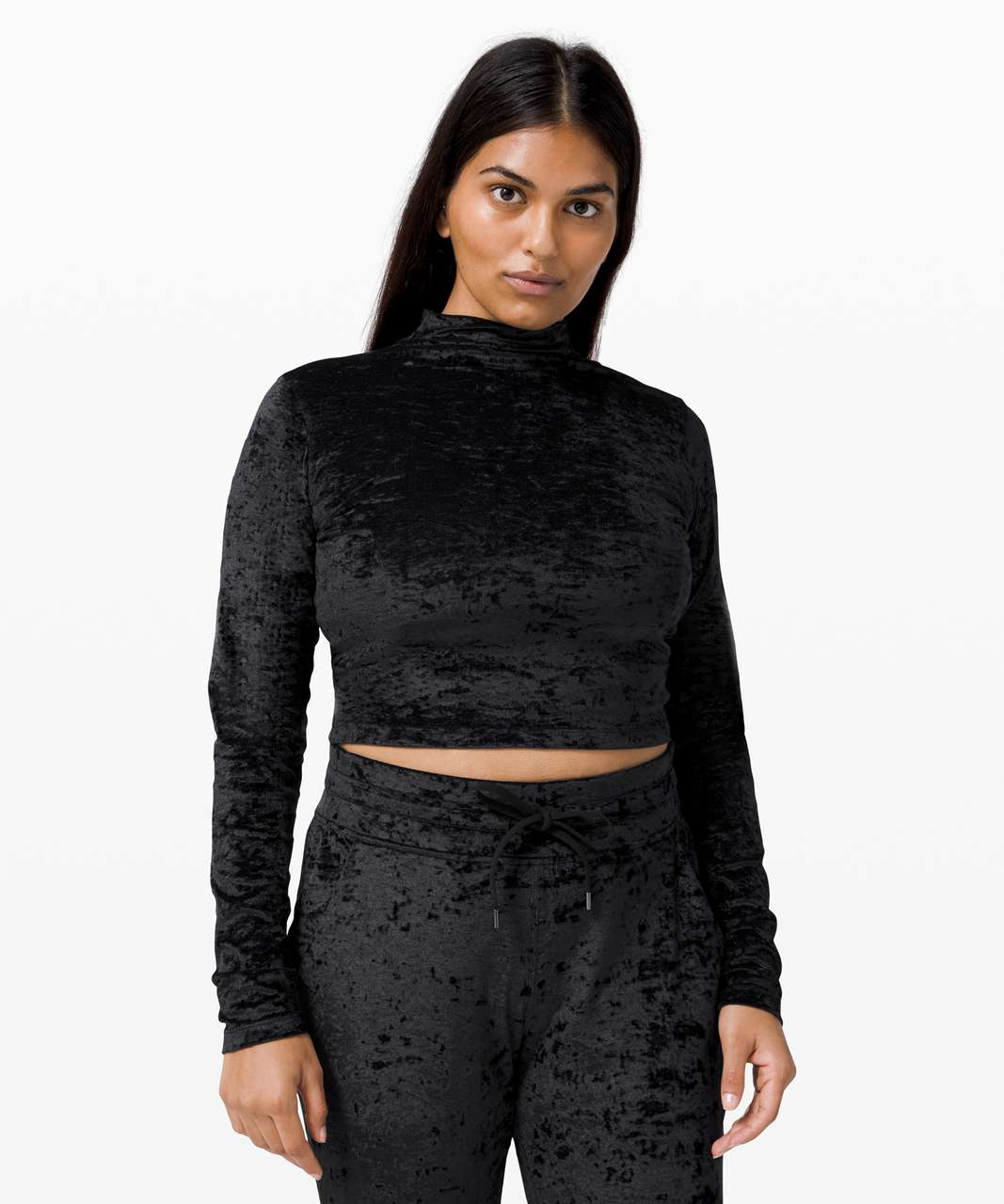 Lululemon All Aligned Mock Neck Long Sleeve *Crushed Velvet - Black
