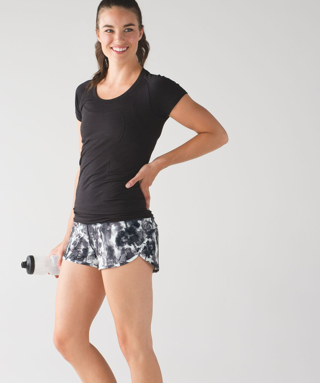 Lululemon Speed Short - Mini Obscurred Black Dusty Mauve / Black