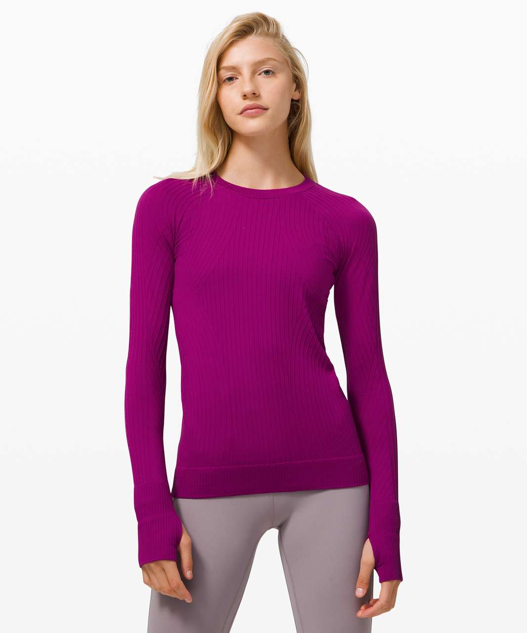 Lululemon Rest Less Pullover - Aerial Current Deep Fuschia / Highlight Purple