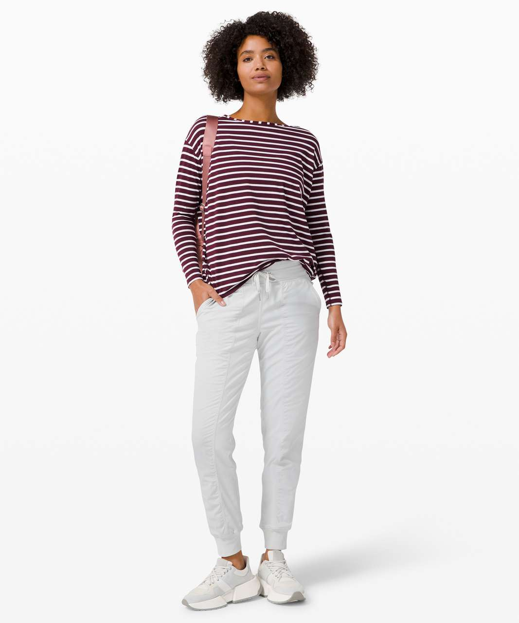 Lululemon Back In Action Long Sleeve - Yachtie Stripe Cassis White