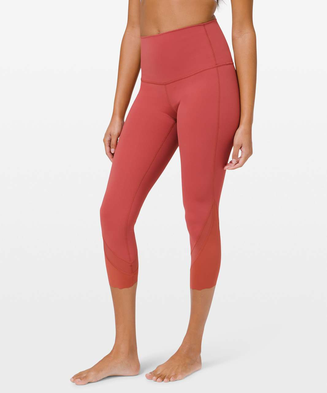 "Lululemon Wunder Under High-Rise Crop 23"" *Updated Scallop Full-On Luxtreme - Soft Cranberry"