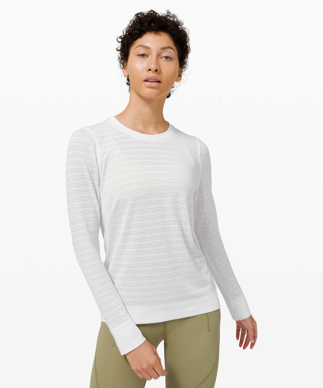 Lululemon Swiftly Breathe Long Sleeve Squad - White / White