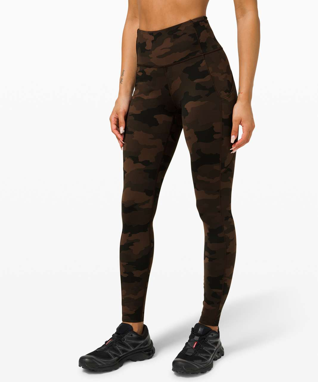 """Lululemon Fast and Free High-Rise Tight 28"""" *Non-Reflective Brushed Nulux - Heritage 365 Camo Brown Earth Multi"""