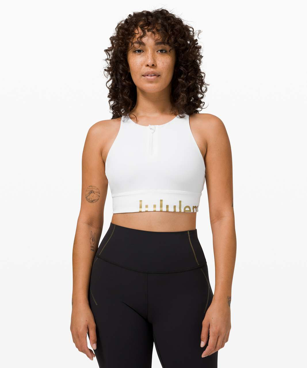 Lululemon Energy Bra High Neck Long Line Zip Special Edition *Medium Support, B–D Cup - White