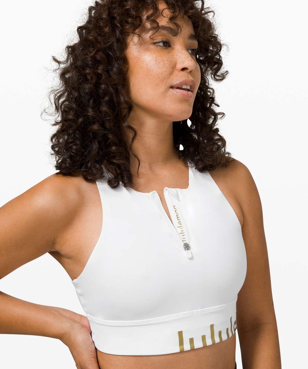 Lululemon Energy Bra High Neck Long Line Zip Special Edition *Medium Support, B–D Cup - White