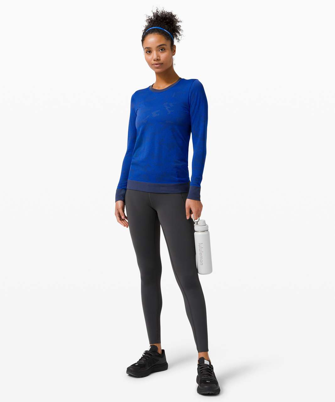 Lululemon Swiftly Breathe Long Sleeve - Vented Camo Graphite Grey / Cerulean Blue