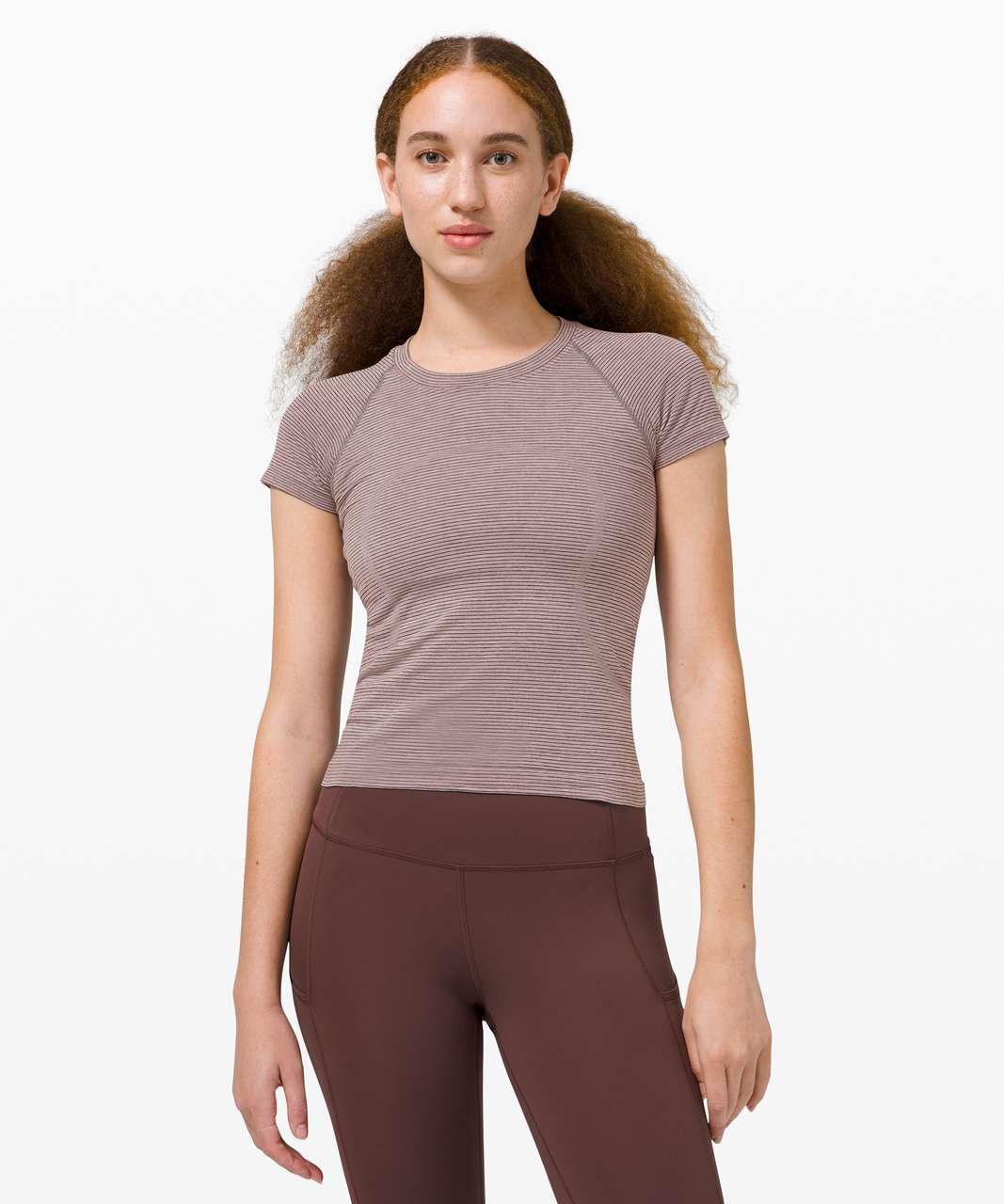 Lululemon Swiftly Tech Short Sleeve 2.0 *Race Length - Tetra Stripe Asphalt Grey / Violet Verbena