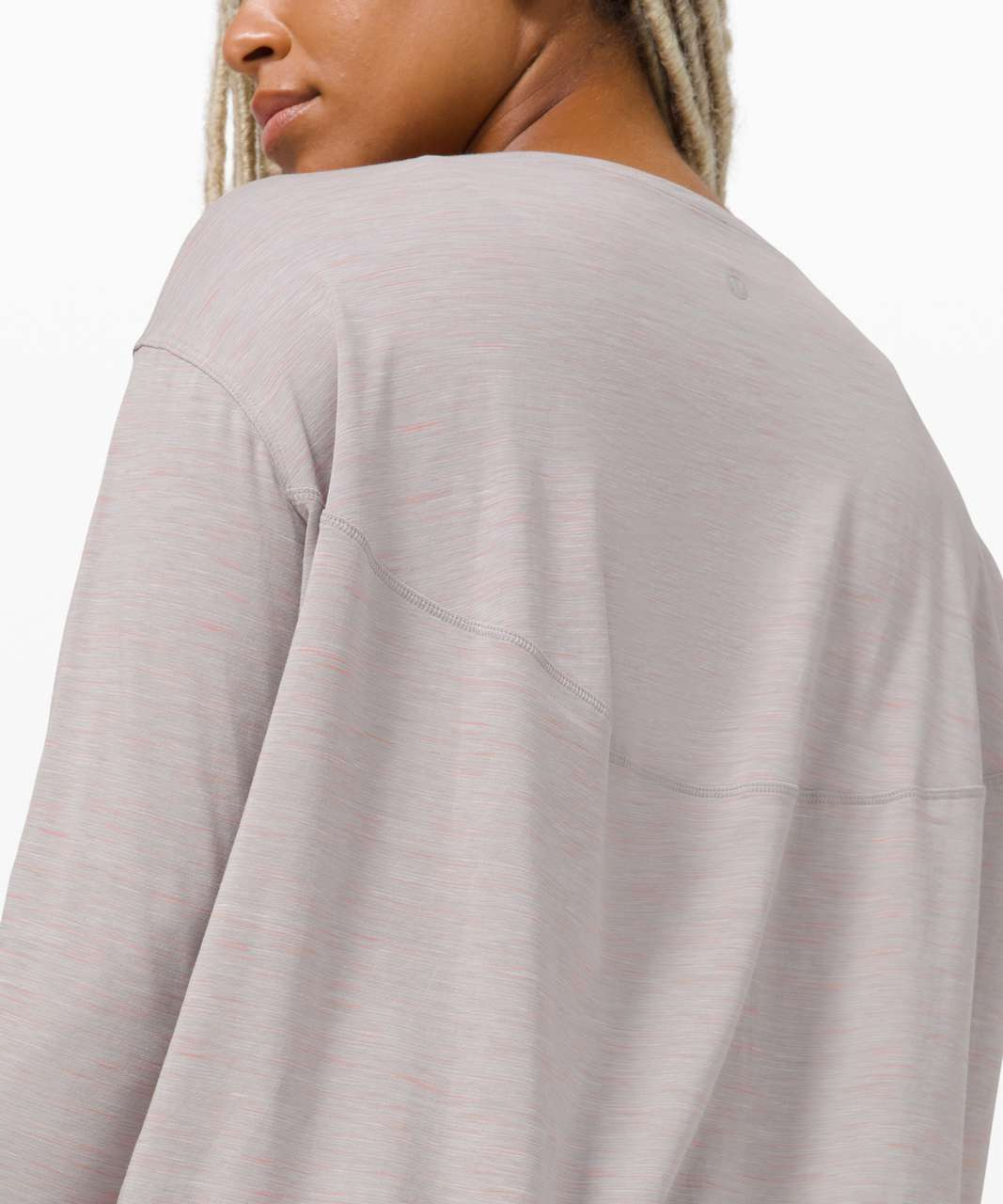 Lululemon Back In Action Long Sleeve - 3 Colour Space Dye Silver Drop Pink Pastel