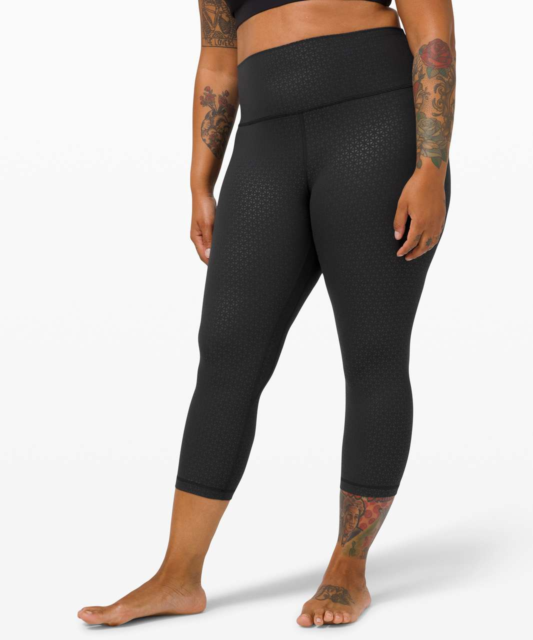 "Lululemon Align Crop *21"" - Lattice Work Emboss Black"