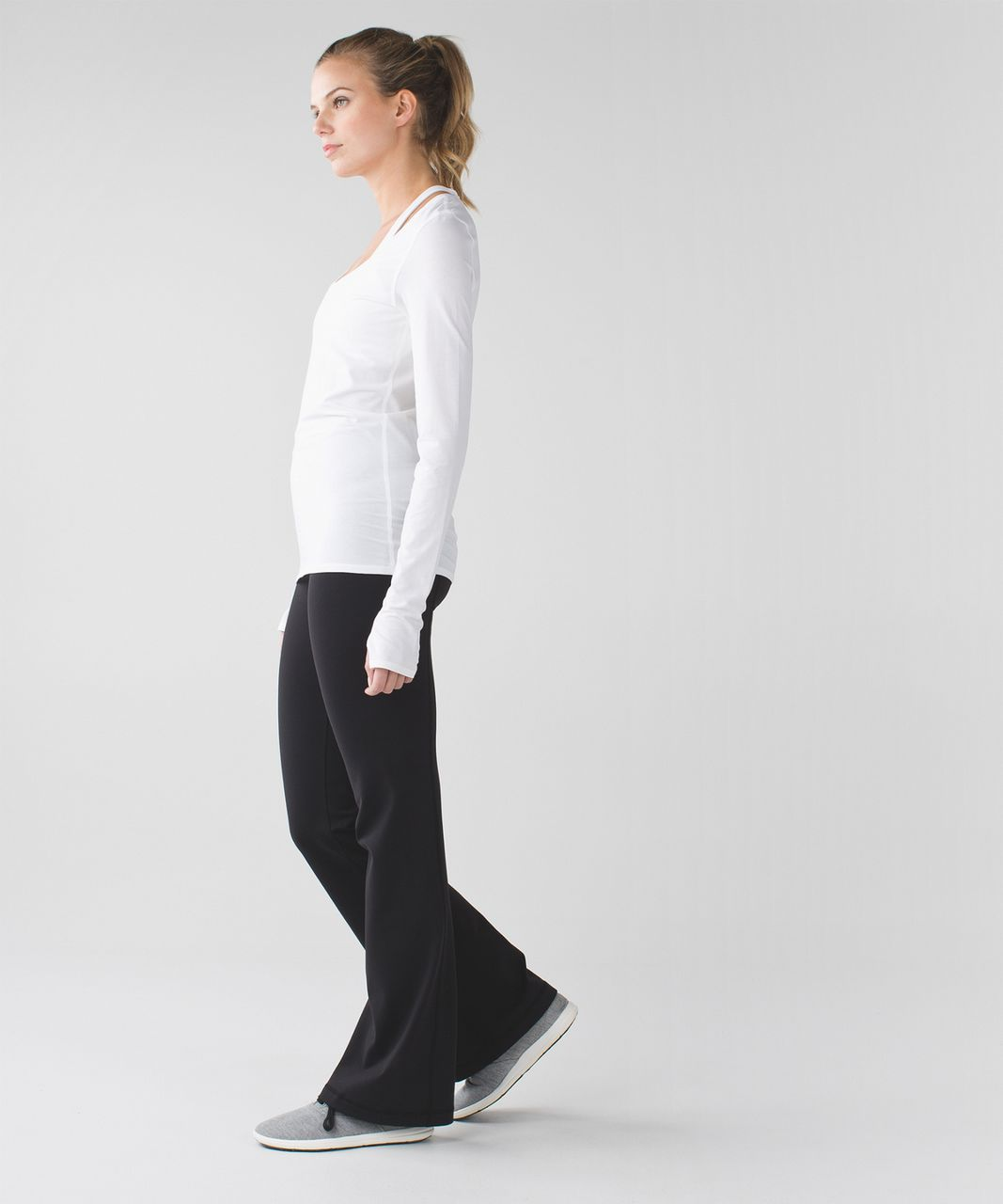 Lululemon Groove Pant III (Regular) - Black / Flashback Static Powdered Rose Tender Violet