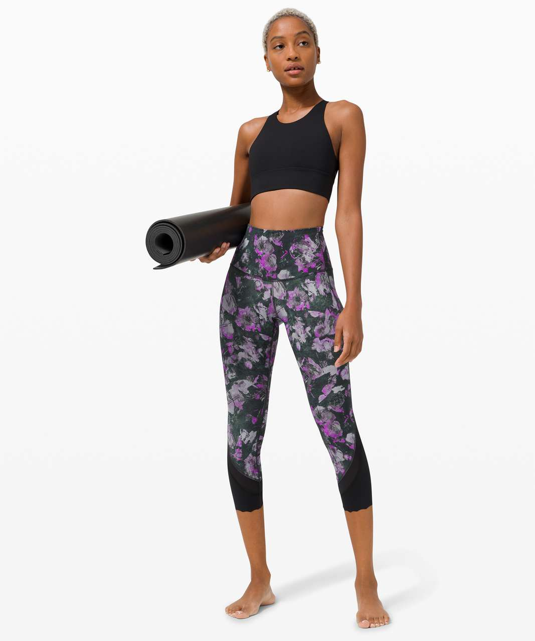 """Lululemon Wunder Under High-Rise Crop 23"""" *Updated Scallop Full-On Luxtreme - Floral Shift Multi"""