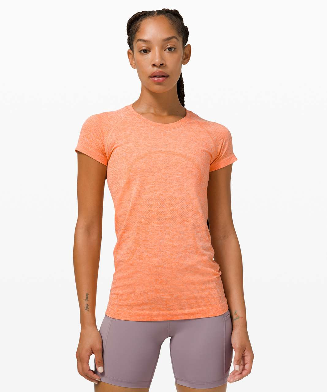Lululemon Swiftly Tech Short Sleeve 2.0 - Amber Orange / White