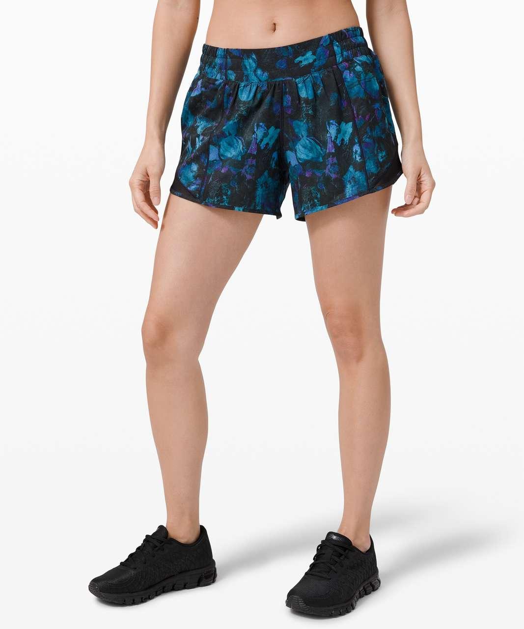 """Lululemon Hotty Hot Short II *Long 4"""" - Floral Shift Blue Multi / Black"""
