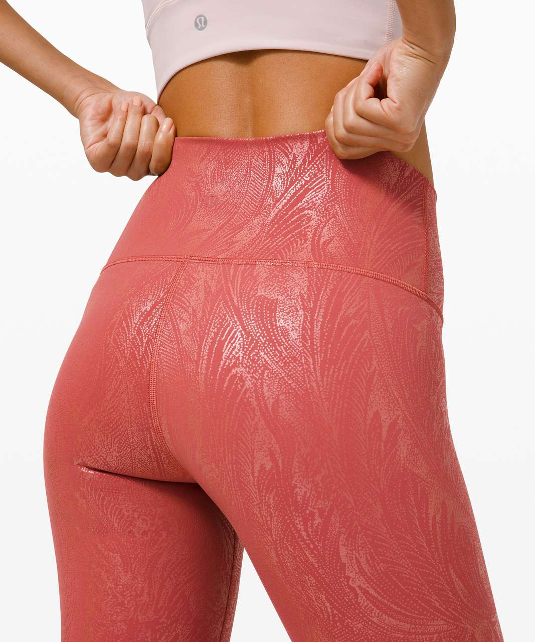 "Lululemon Wunder Under High-Rise Tight 28"" *Shine - Acclimatize Soft Cranberry Pink Foil"