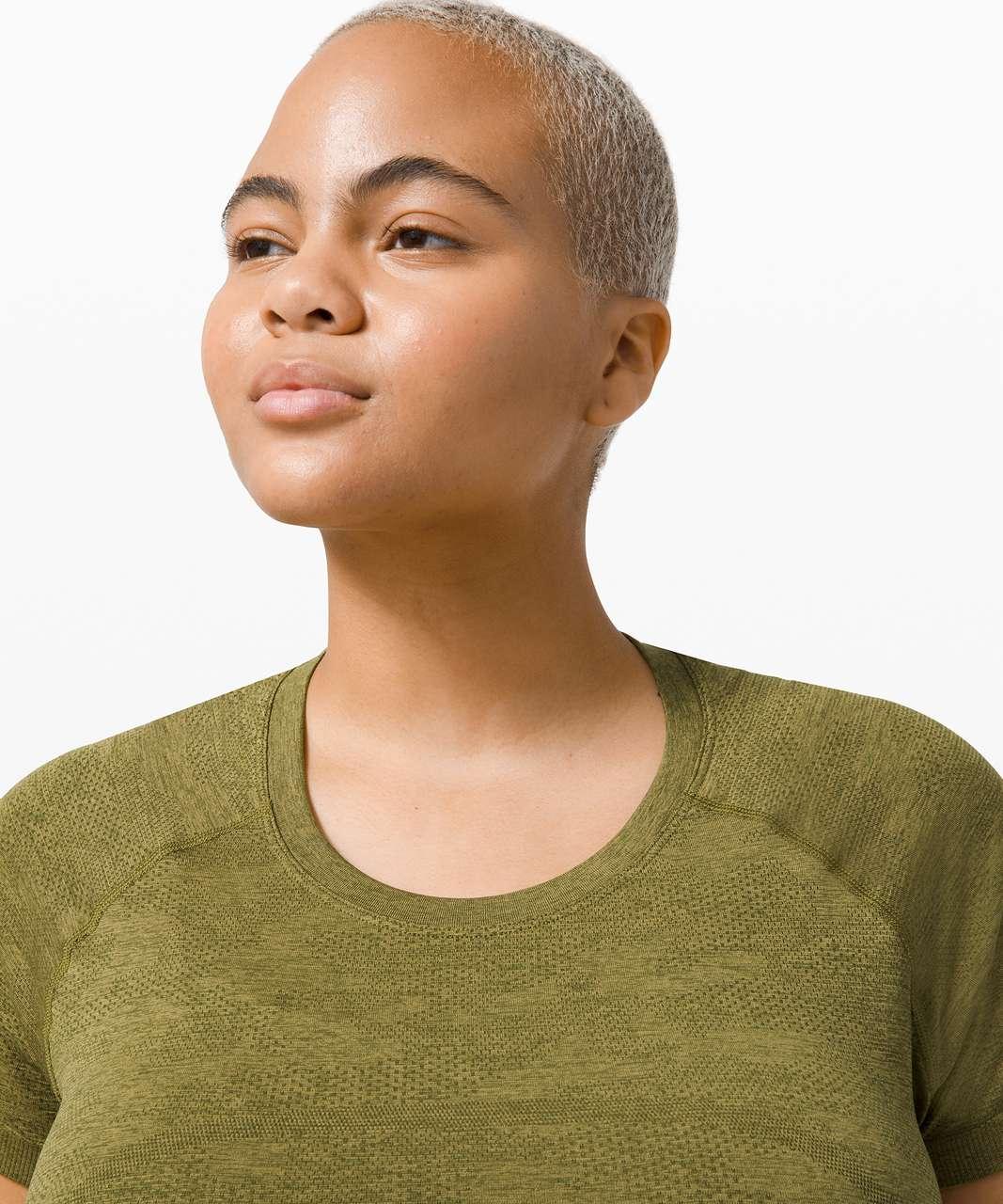 Lululemon Swiftly Tech Short Sleeve 2.0 - Variegated Mesh Camo Moss Green / Bronze Green
