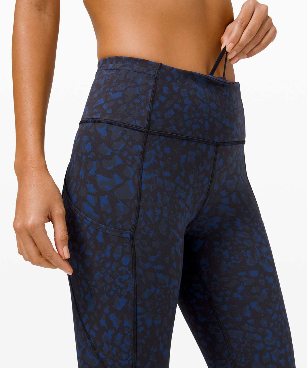 "Lululemon Fast and Free Crop II 19"" *Non-Reflective - Wild Thing Camo Larkspur Multi"