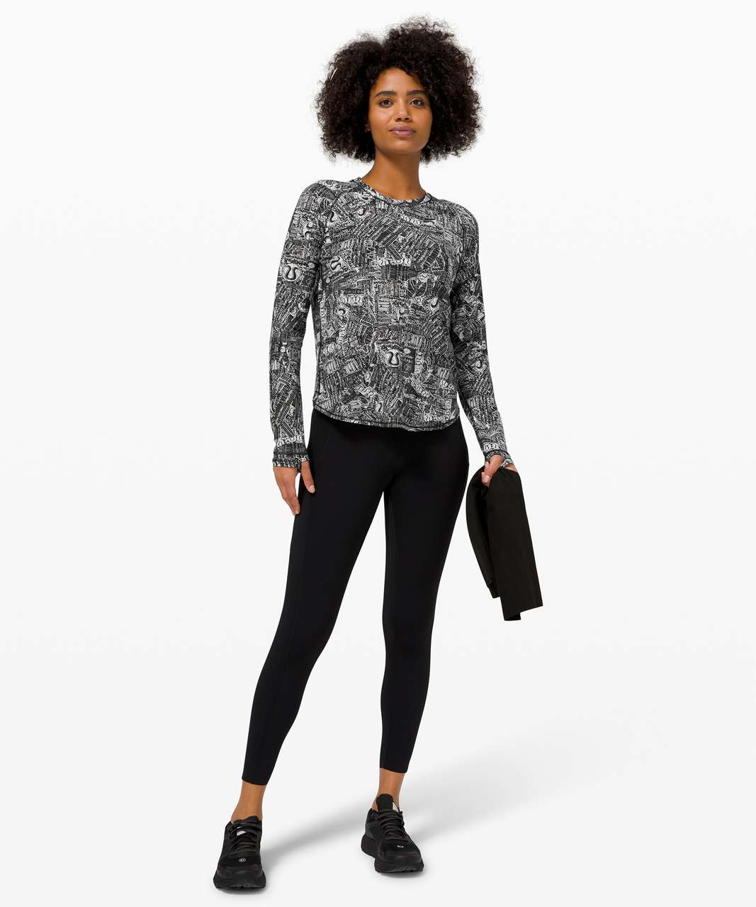 Lululemon Rise and Run Long Sleeve - Tear It Up Alpine White Black