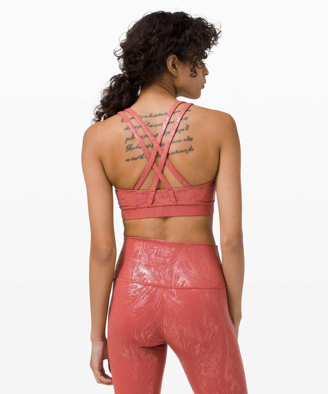 Lululemon Energy Bra Shine *Medium Support, B–D Cup - Acclimatize Soft Cranberry Pink Foil