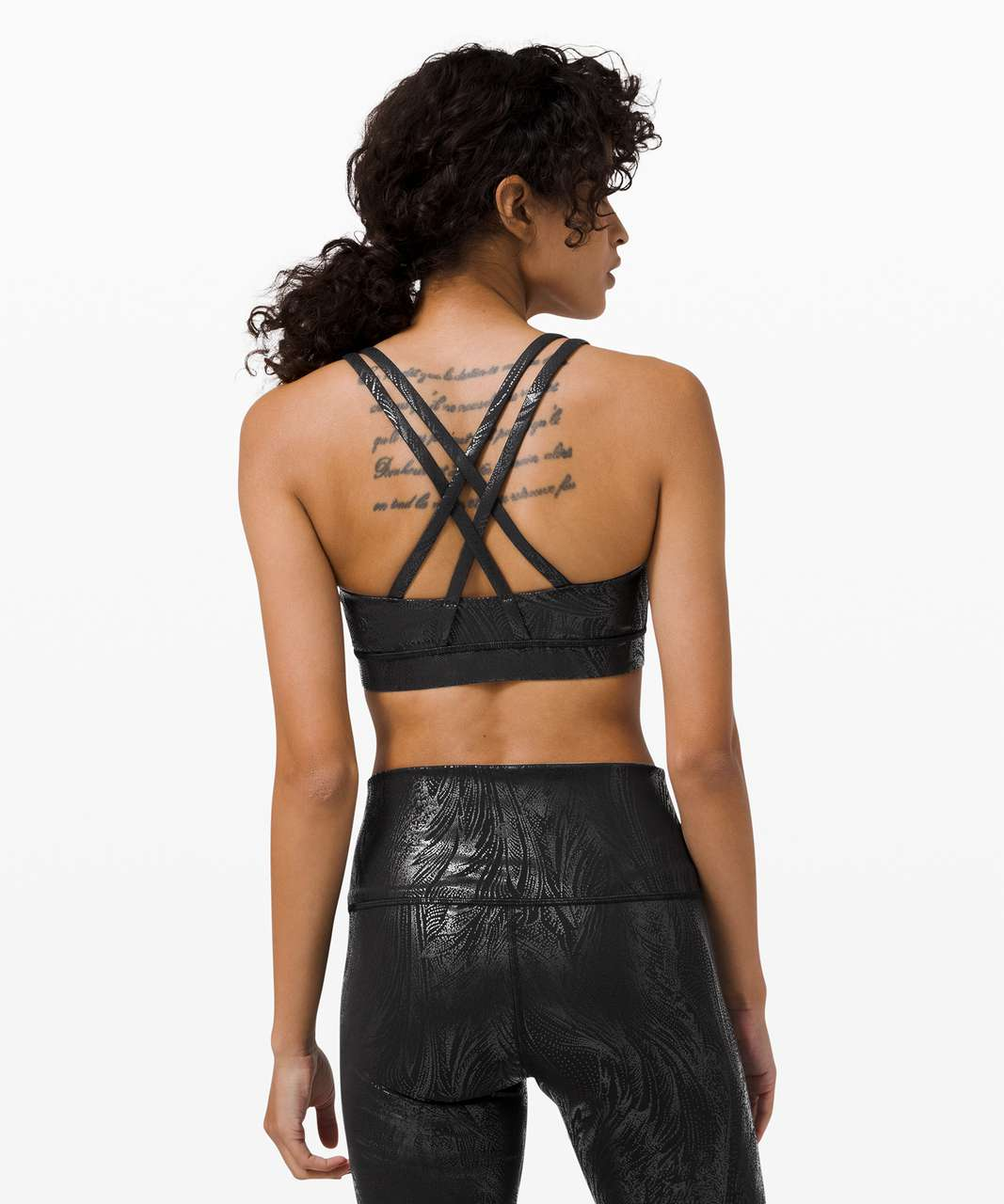 Lululemon Energy Bra Shine *Medium Support, B–D Cup - Acclimatize Black Black Foil