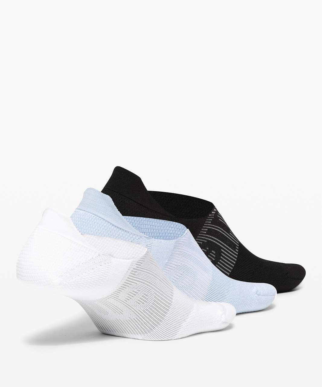 Lululemon Power Stride No-Show Sock with Active Grip *3 Pack - White / Blue Linen / Black