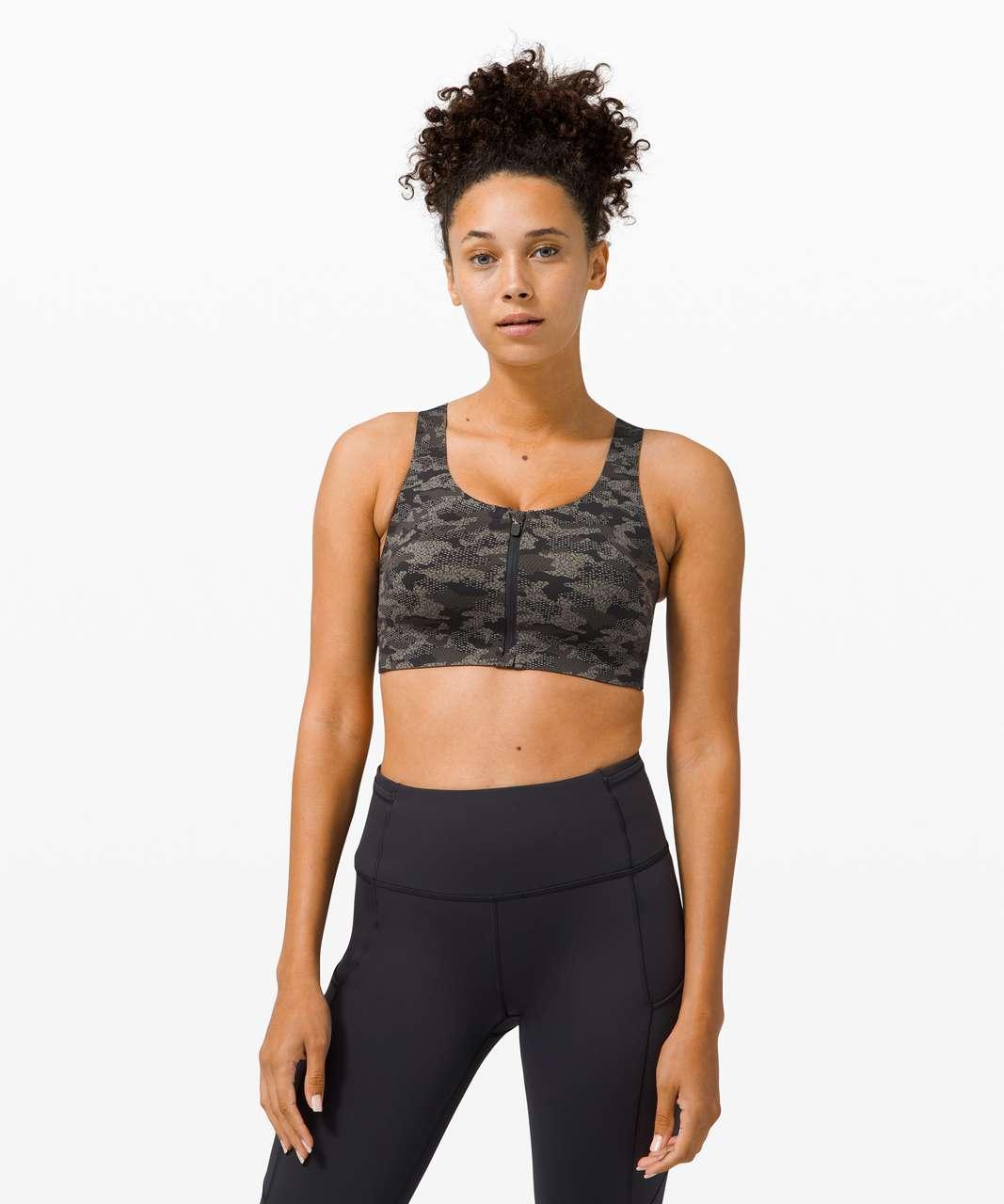 Lululemon Enlite Bra Zip Front *High Support, A–E Cups - Collage Camo Mini Black Multi