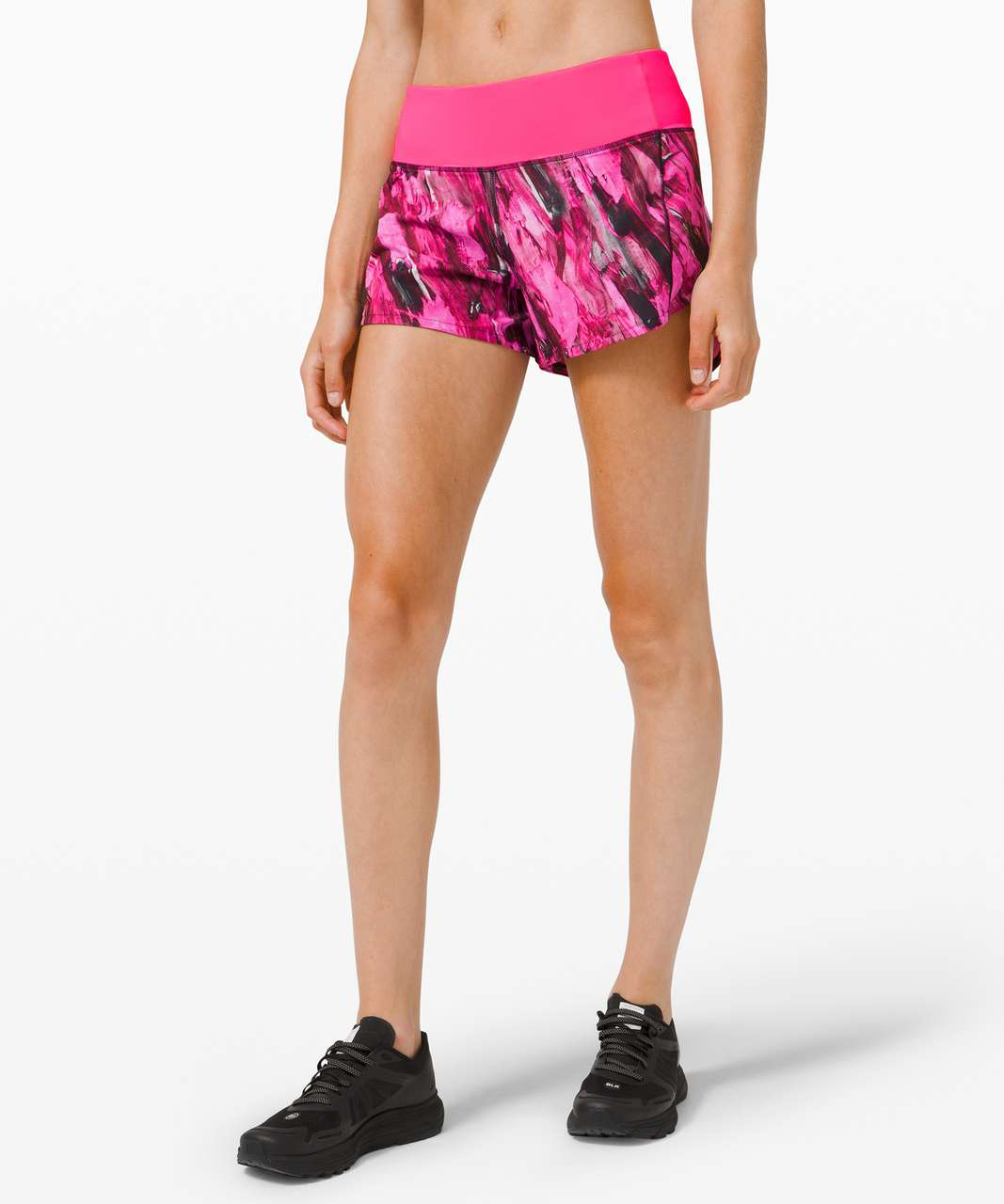 """Lululemon Speed Up Short Long *4"""" Updated Fit - Incentive Refresh Multi / Pink Highlight"""