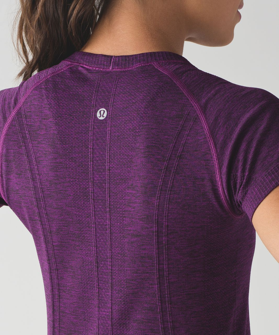 Lululemon Swiftly Tech Short Sleeve Crew - Black / Chilled Grape