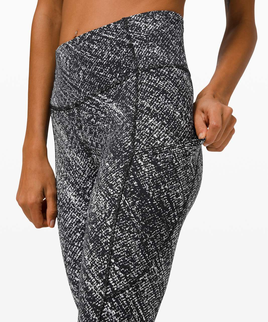 """Lululemon Fast and Free High-Rise Crop 23"""" *Non-Reflective - Speckle Sprint Alpine White Black"""