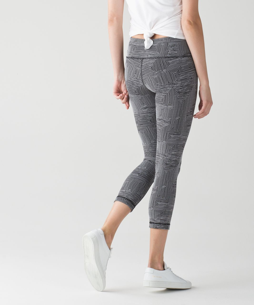 Lululemon Wunder Under Crop III - Maze Jacquard White Black
