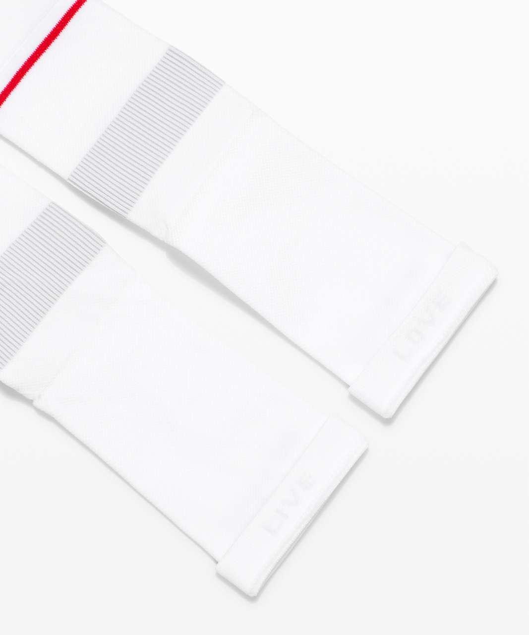 Lululemon Power Stride Crew Sock *2 Pack - White / Lulu Red