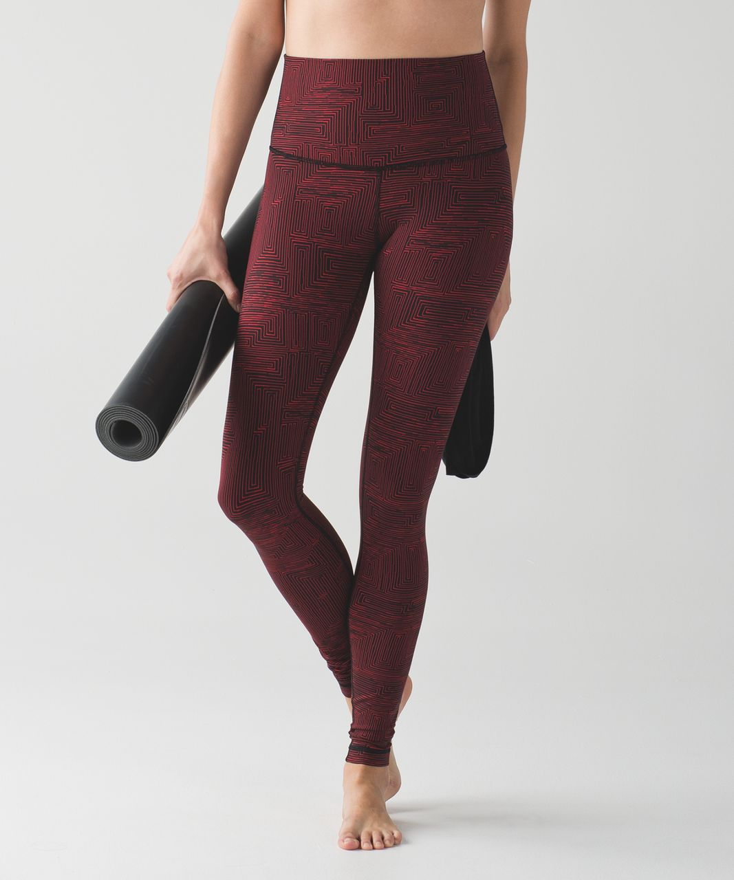 Lululemon Wunder Under Pant (Hi-Rise) - Maze True Red Black