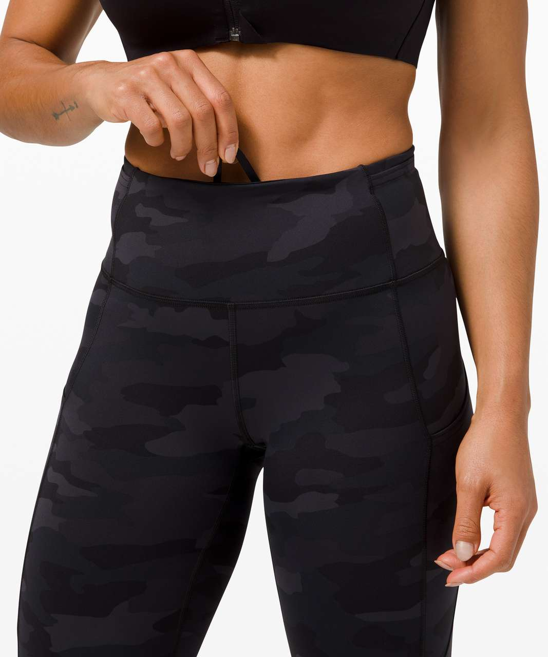 """Lululemon Fast and Free High-Rise Crop 23"""" *Non-Reflective - Heritage 365 Camo Deep Coal Multi"""