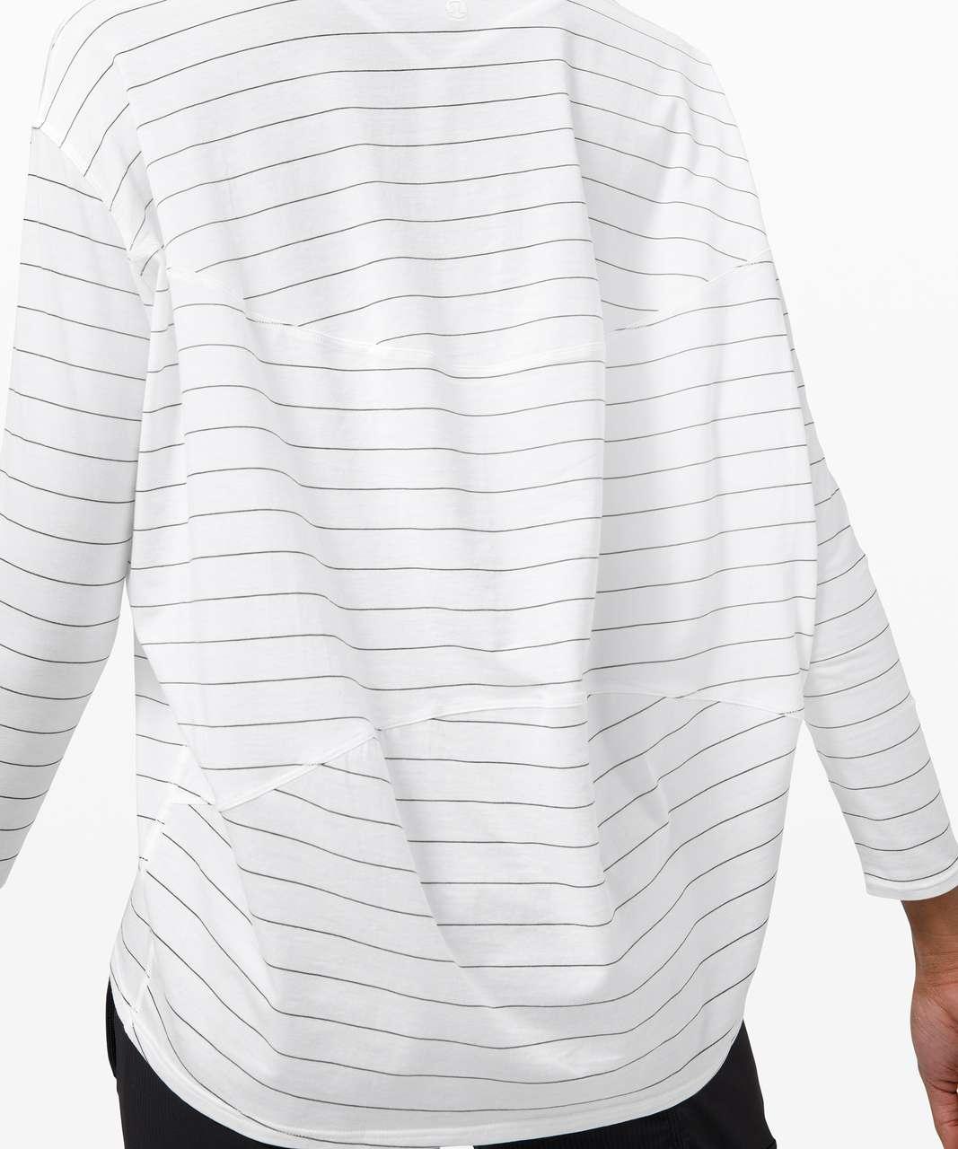 Lululemon Back In Action Long Sleeve - Short Serve Stripe White Black